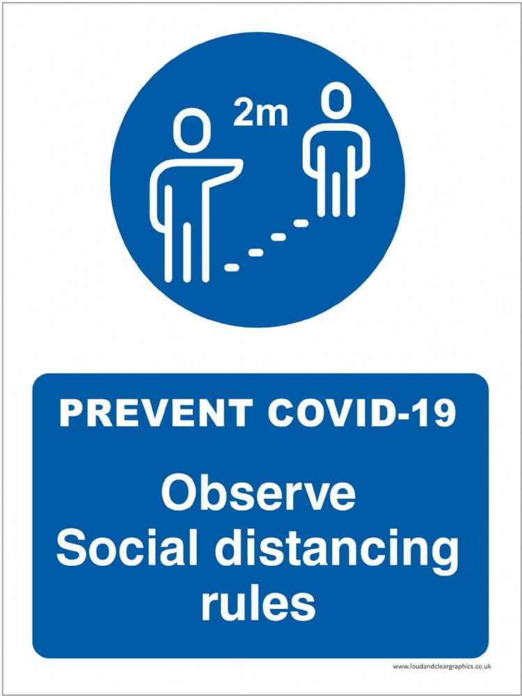 Covid-19 safety sign  Observe social distancing